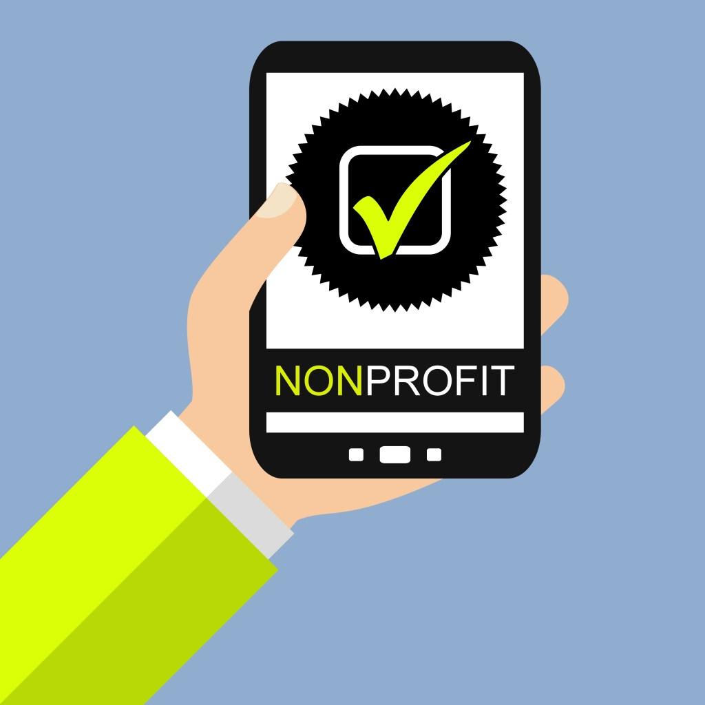 Hand mit Smartphone: Non Profit - Flat Design