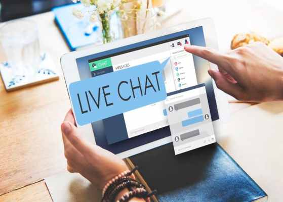 Tablet with live chat showing up