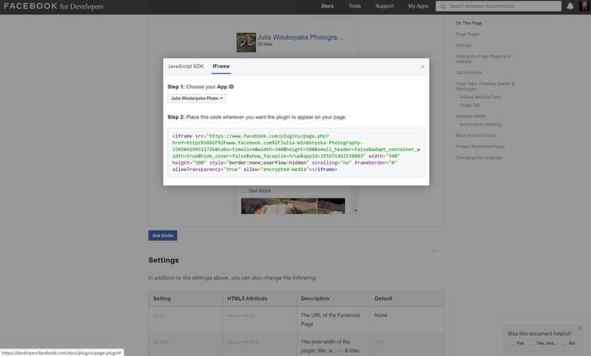 social media feed code from Facebook for Developers