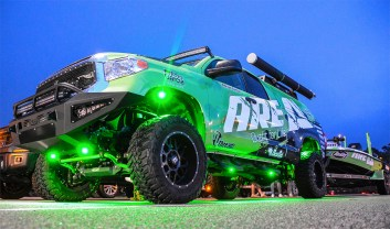 Adrian Avena's rig is lit up as he waits out the weather delay on Day 2. Photo by Joel Shangle.