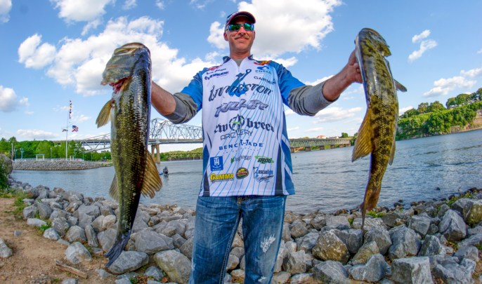 Surprise surprise, Livingston Lures pro Andy Morgan holds the AOY lead heading into Champlain. Photo by Joel Shangle for Livingston Lures.