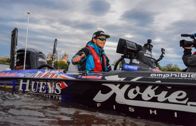 Aussie Aussie Aussie! Oi oi oi! So far in his Elite career, Carl Jocumsen has proven to be super streaky (in a good way at Chesapeake Bay and Guntersville). There's a Top 20 in the Aussie's future on Texoma. Photo by Joel Shangle.