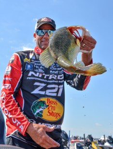 Staring down the barrel of a Kevin VanDam Day 1 hawg. Photo by Joel Shangle.