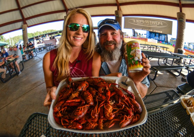 Yep, we ate crawfish until we couldn't eat no mo'. You would too if Tony Cachere was cooking them! Photo by Joel Shangle.