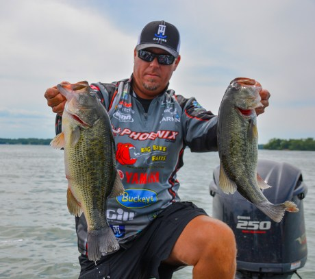 Garmin pro Russ Lane bagged up 19-13 on Day 1. Photo by Joel Shangle.