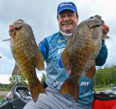 Mercury pro Shaw Grigsby had a lot to smile about with these two Day 2 monsters. Photo by Joel Shangle.