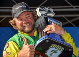 Timmy Horton is thumbs up with his fifth Elite Serie strophy. Photo by Joel Shangle.