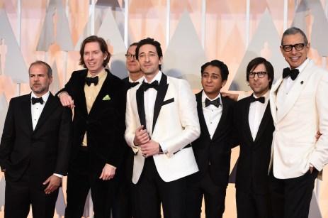 Jeremy Dawson, Wes Anderson, Hugo Guinness, Adrien Brody, Tony Revolori, Jason Schwartzmann e Jeff Goldblum.