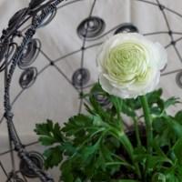 Drahtkugel mit Öffnung als Frühlingsdeko