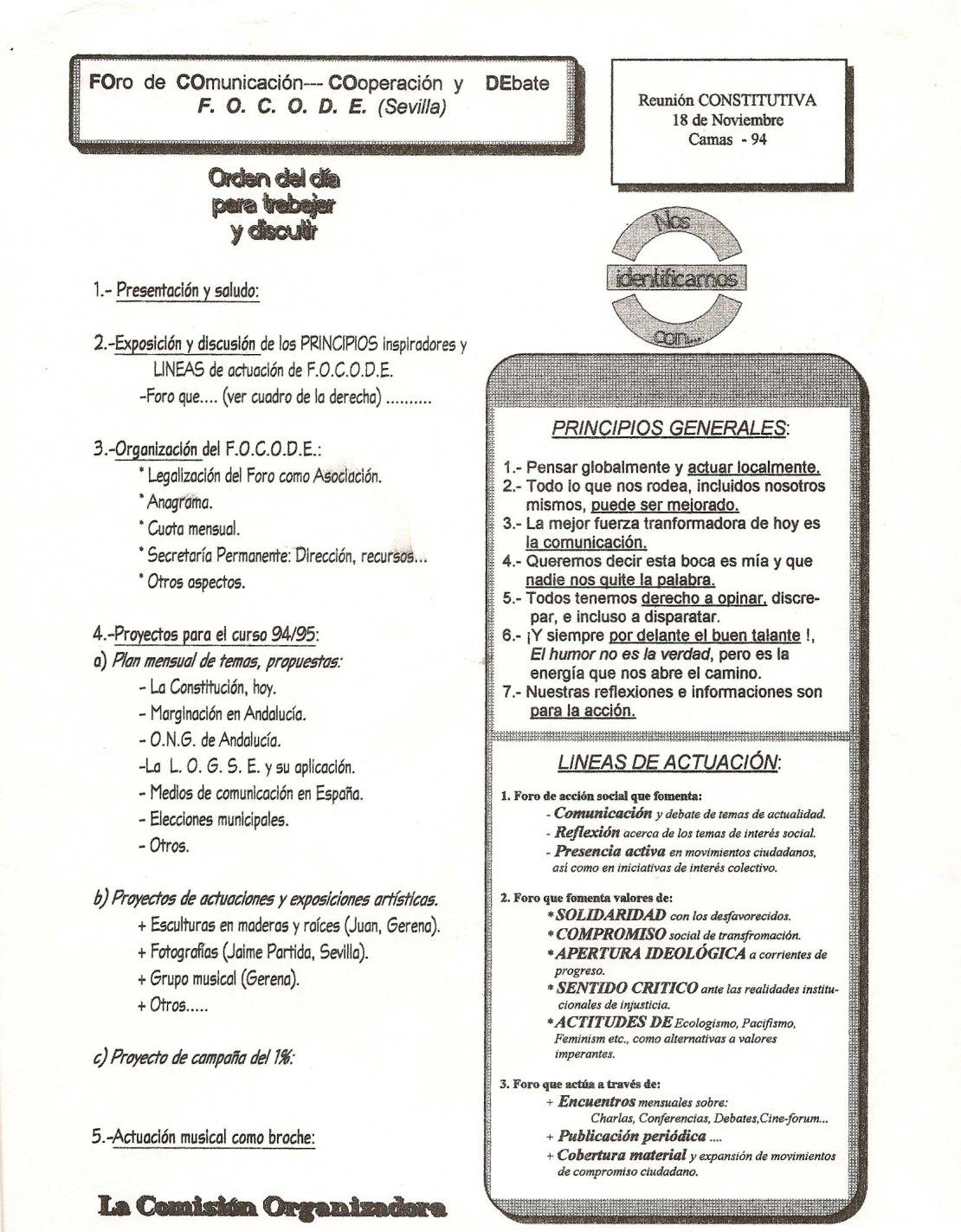 Orden del Día de la Reunión de constitución del FOCODE.
