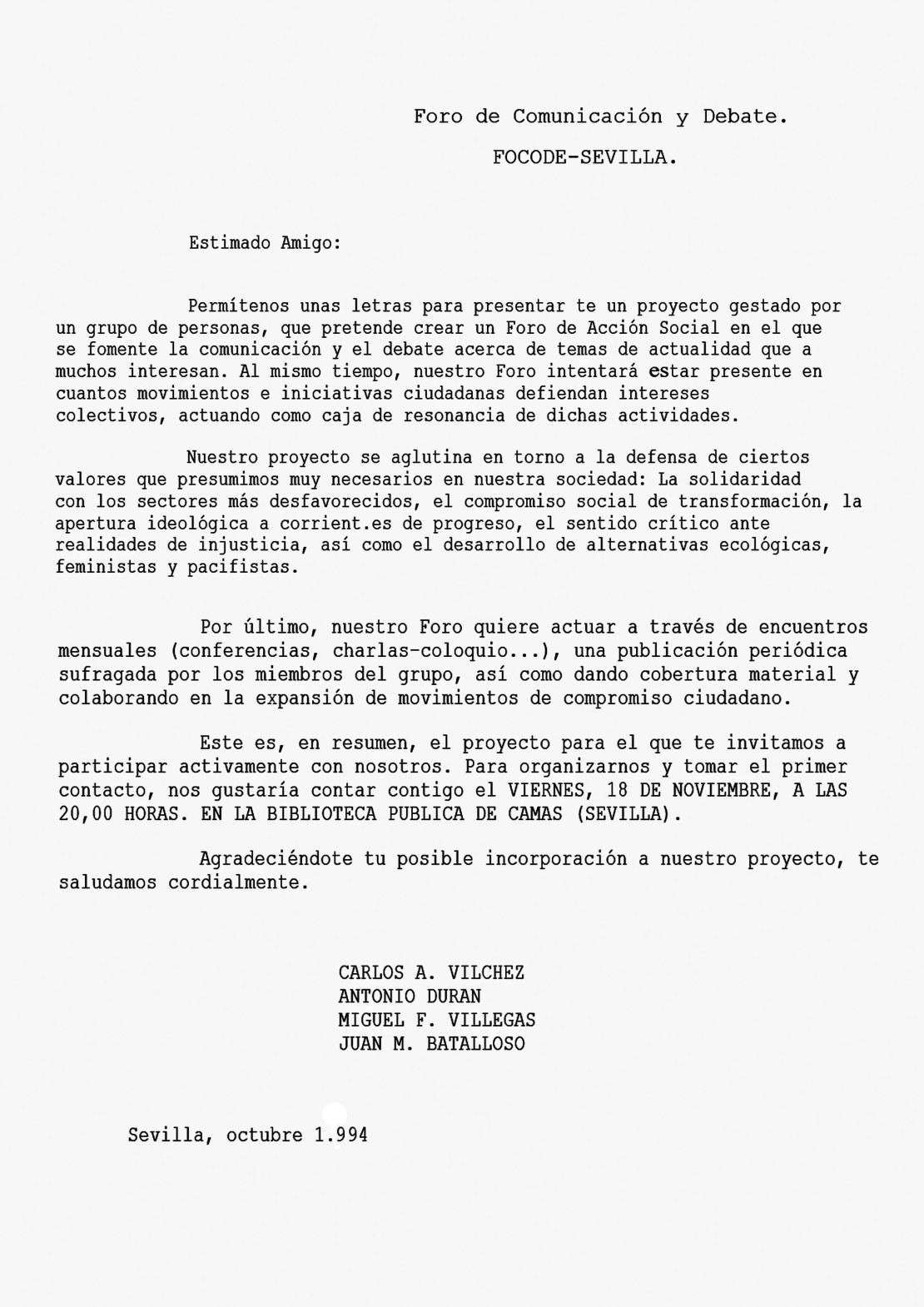 Convocatoria constitución del FOCODE