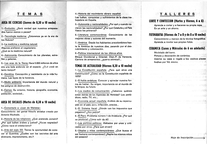 Programa de actividades de la ECP 81/82 (b) CAMAS (Sevilla)