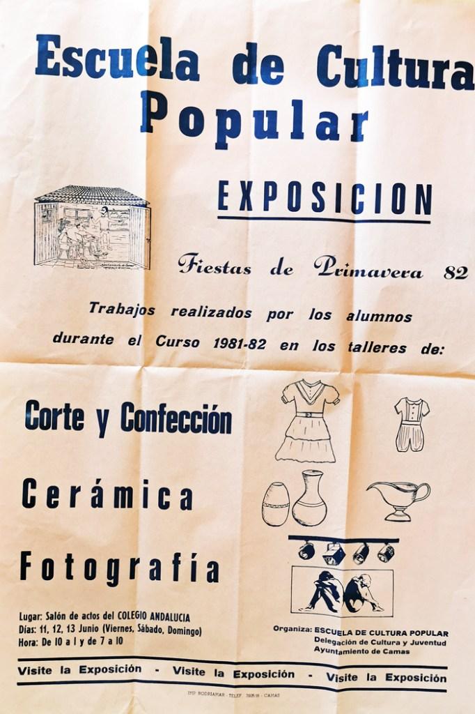 Cartel Exposición de la Esc. Cult. Pop. CAMAS (Sevilla) 1982.