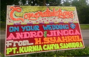 Papan Bunga Ucapan Pernikahan Batam