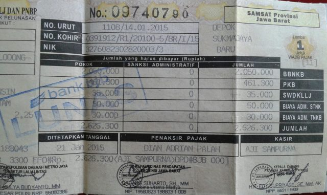 Contoh Surat pajak kendaraan bermotor roda dua