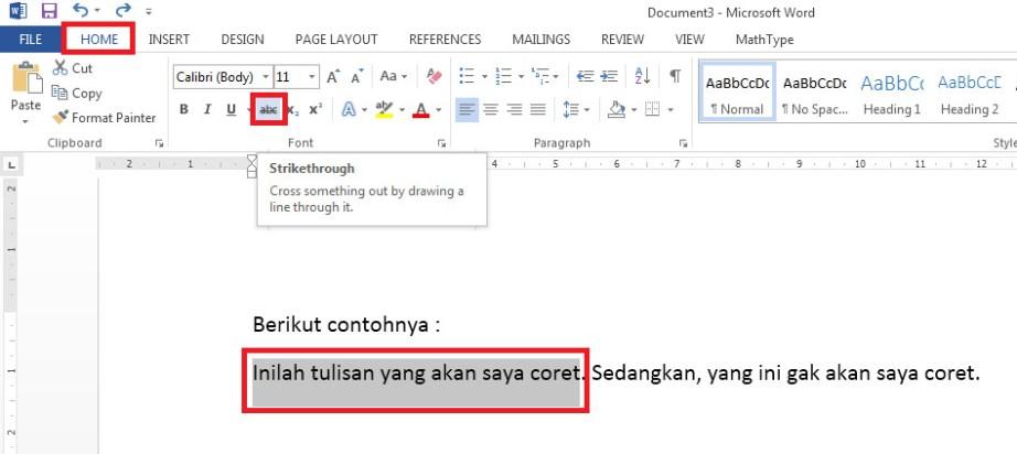 Cara mencoret tulisan di Word