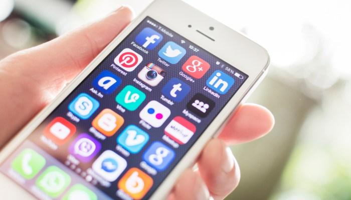 Smart phone showing social media apps