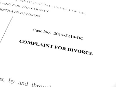Legal papers Complaint for Divorce in court