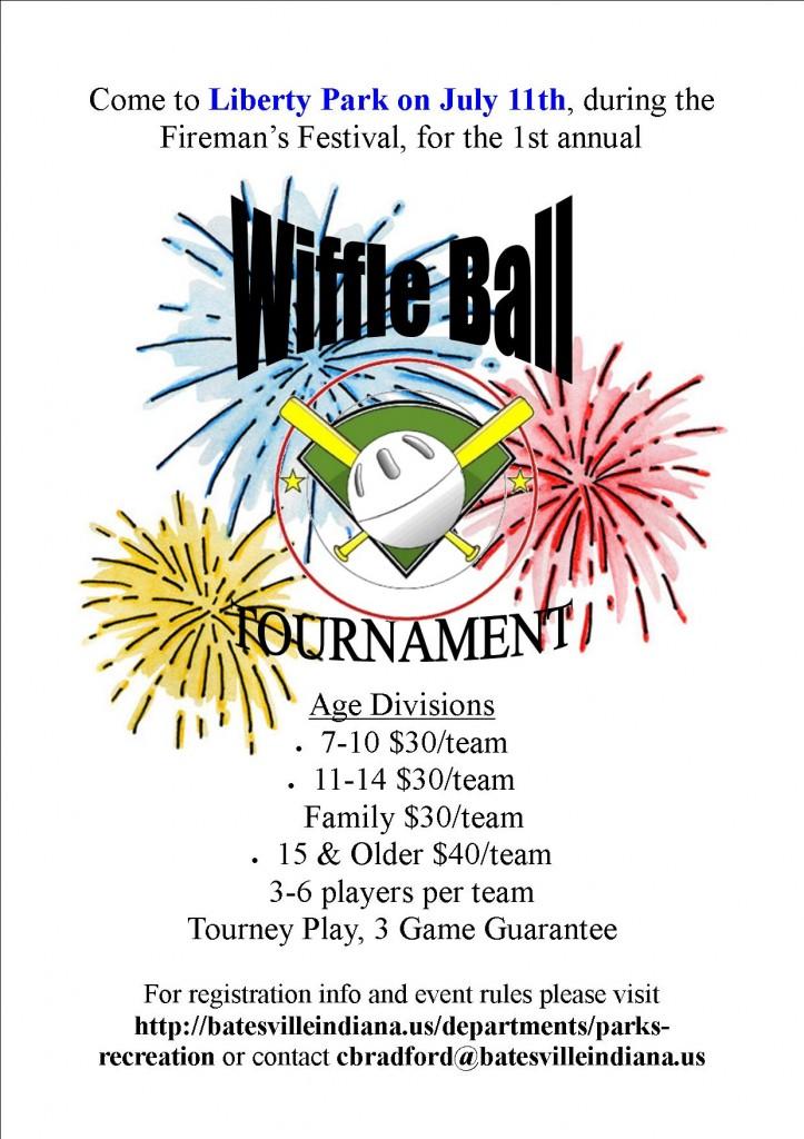Wiffle Ball Tournament Flyer  City of Batesville Indiana