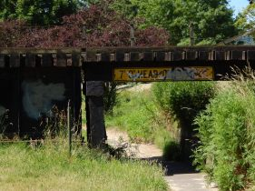 Trail low clearance under RR Trestle