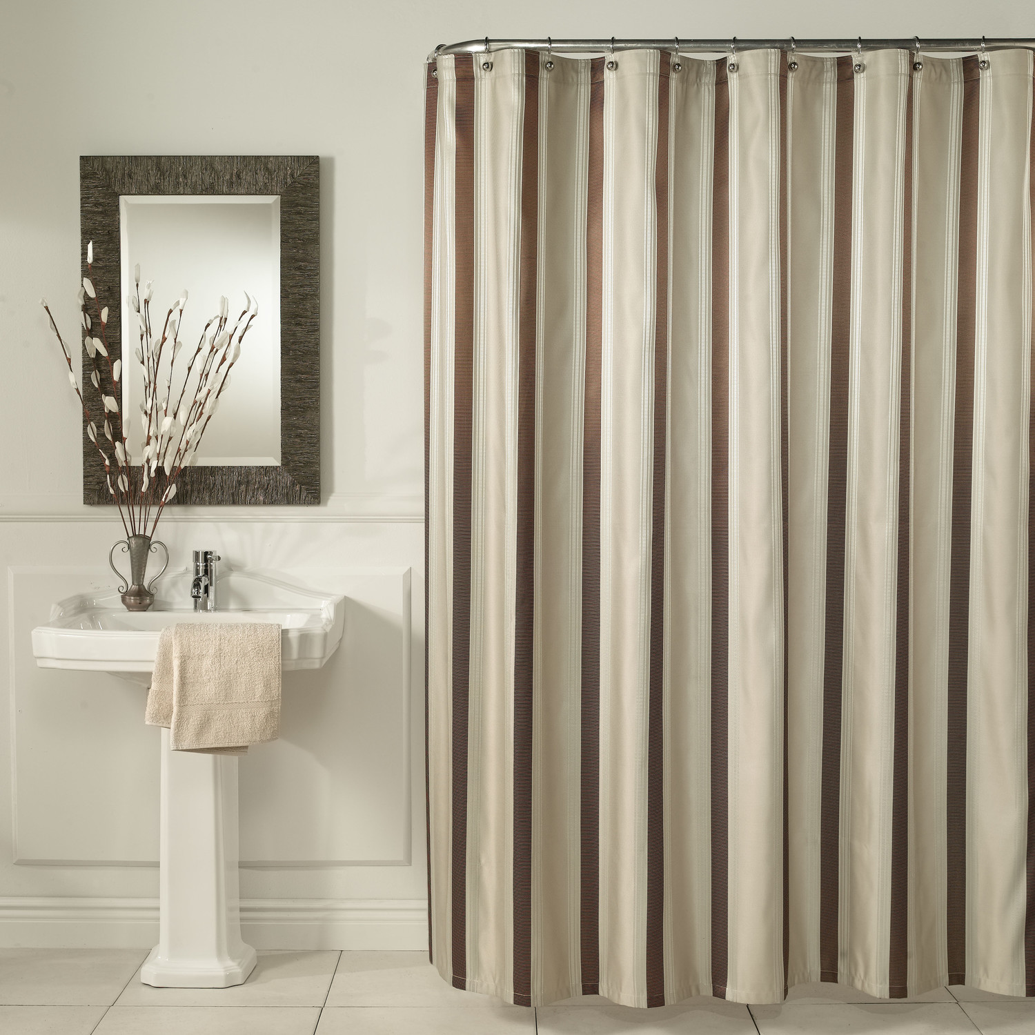 Bathroom Shower Curtain Bed Bath And Beyond Shower Curtains Brown Vertical Striped