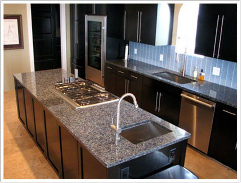 White Small Kitchens Deep Blue Pearl Granite - Denver Shower Doors & Denver