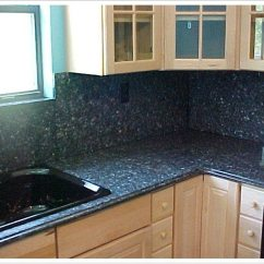 Frameless Kitchen Cabinets Stone Countertops Deep Blue Pearl Granite - Denver Shower Doors & ...