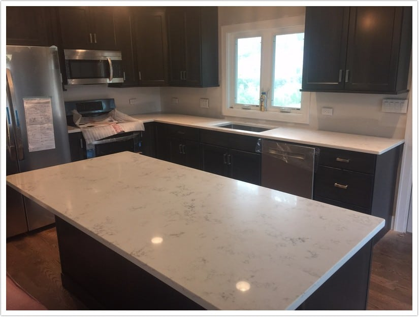 Carrara Grigio MSI Quartz  Denver Shower Doors  Denver Granite Countertops