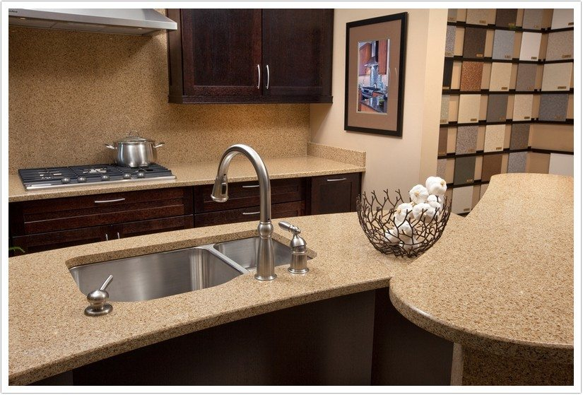 beige kitchen cabinets light fixture for toasted almond msi quartz - denver shower doors & ...