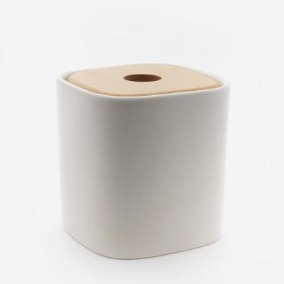 Boite A Coton Et Accessoires Ceramique Blanc Wood Bath Bazaar