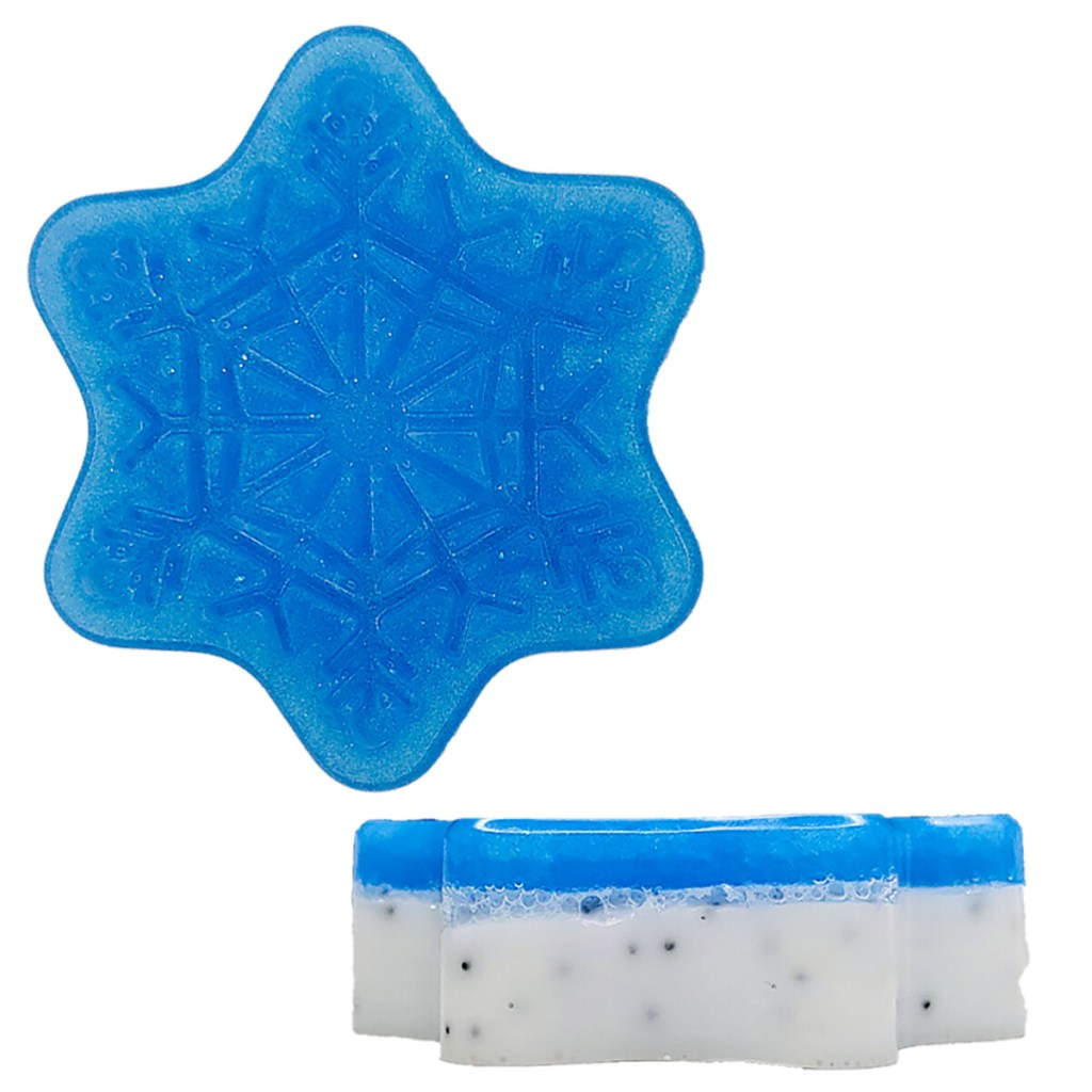 Two-Tone Layered Lather and Exfoliate Snowflake Soap