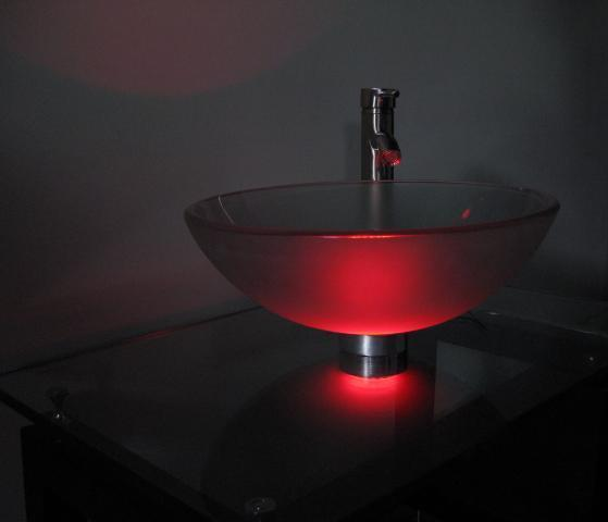 Vessel sink mounting ring LED light ML119