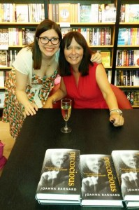 Joanna Barnard (R) with Juliet Mushens at the Waterstones launch for Precocious in July 2015