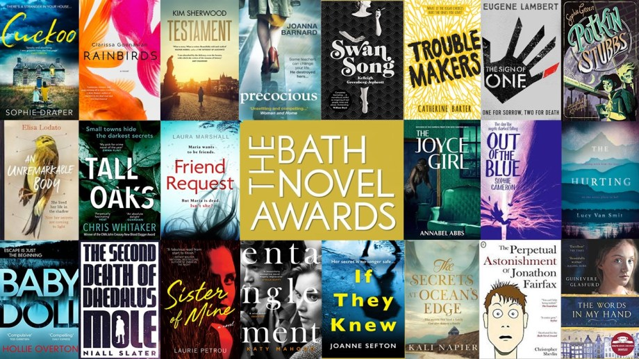 Collage of covers of novels listed by the Bath Novel Awards