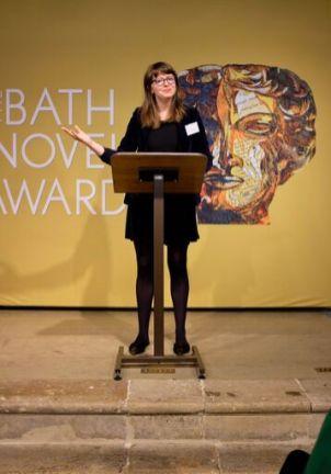 Kate Longman of Janklow & Nesbit announces the winning book (Photo credit: Emma Seal)