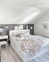 Scandi Schlafzimmer, Brimnes Bett Ikea, dunkle Wand ...