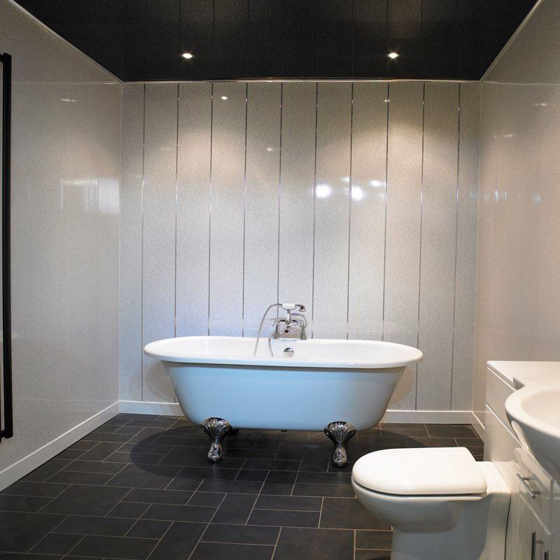 White sparkle ceiling cladding for Bathrooms direct