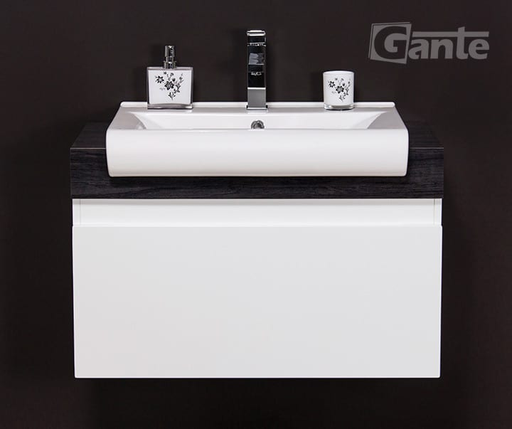 White bathroom vanity unit 80cm