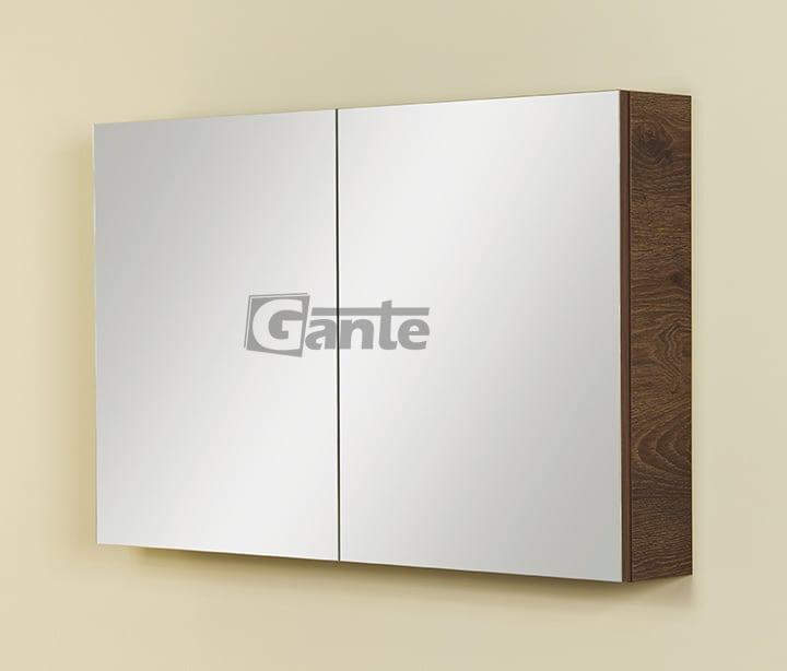 bathroom cabinet with mirror 100cm antique wood