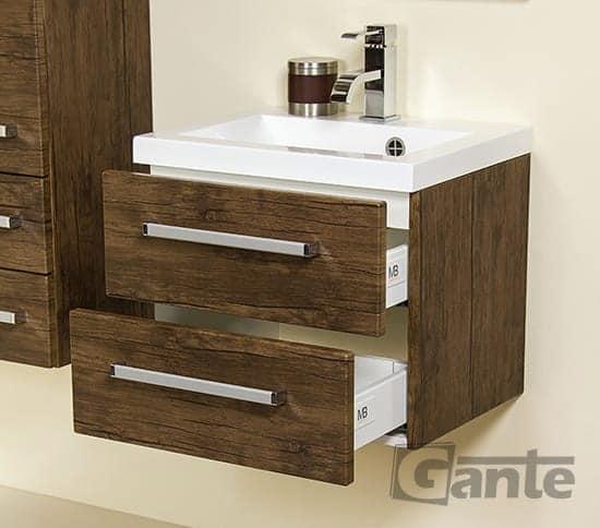 vanity unit 50cm antique wood two drawers