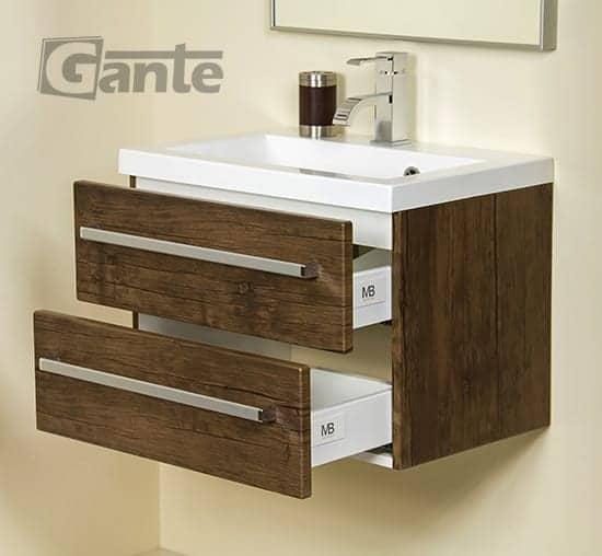 vanity unit 60cm antique wood two drawers