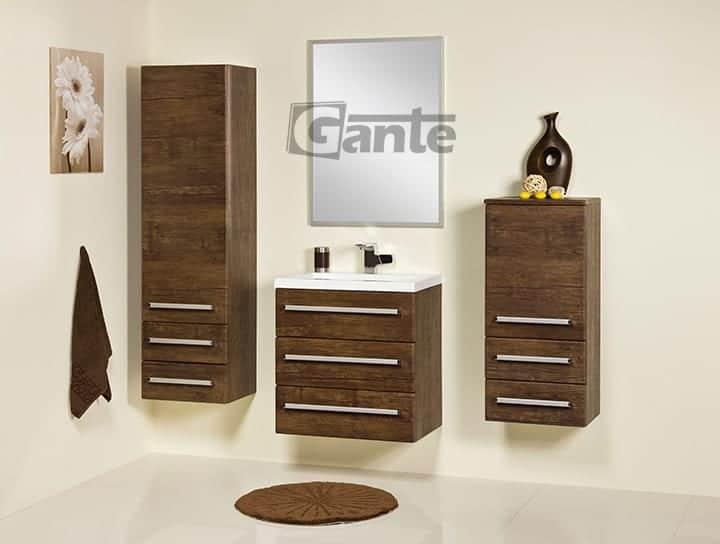 vanity unit 60cm antique wood three drawers