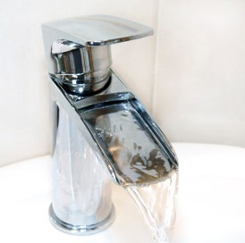 chrome waterfall tap with open spout