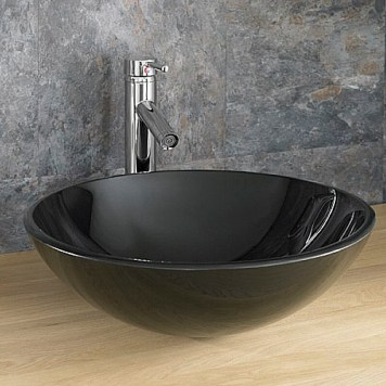 round black glass countertop basin