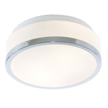 Bathroom Drum Shape Chrome Ceiling Light With Opal Glass