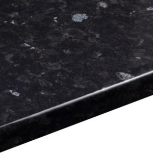 28mm Ebony granite Black Gloss Stone effect Round edge Laminate Worktop (L)2m (D)365mm