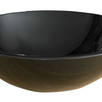Freestanding Large Round Black Glass Bathroom Basin 420mm PADOVA