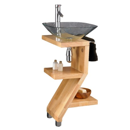 Wooden Bathroom Pedestal Stand + Square Clear Glass Basin Set TRAPANI