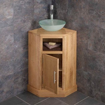 Corner Oak Cloakroom Vanity Unit + Round Frosted Glass Basin Set CUBES