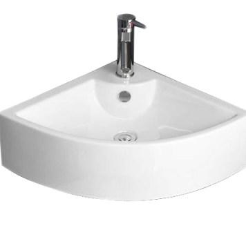 Bathroom Corner Basin | Wall Hung 66cm Large White Ceramic Sink |PRATO